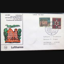 Enveloppe 1° jour Lufthansa Aufnahme Frankfurt Amsterdam 24 juin 1965