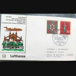 Enveloppe 1° jour Lufthansa Aufnahme Frankfurt Palma de Mallorca 1 April 1965
