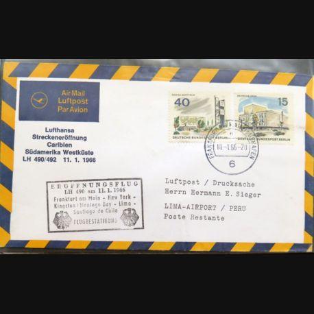 Enveloppe 1° jour Lufthansa Eruffnungsflug Frankfurt/Main Santiago de Chile 10 janv 1966