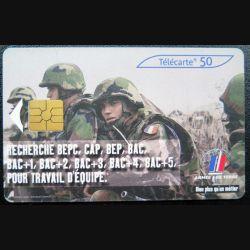 télécarte 50 unités Armée de terre recherche BEPC France télécom