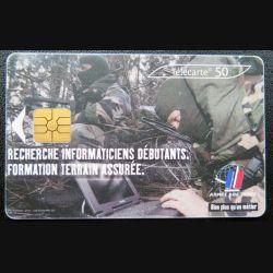 télécarte 50 unités Armée de terre recherche informaticiens France télécom