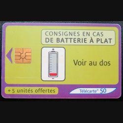 télécarte 50 unités consignes en cas de batterie à plat France télécom