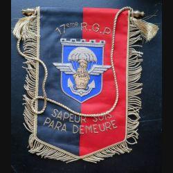 17° RGP : fanion du 17° régiment du génie parachutiste sapeur suis para demeure 25 x 18 cm en cannetille