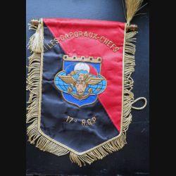 17° RGP : fanion des caporaux chefs du 17° régiment du génie parachutiste 25 x 18 cm en cannetille