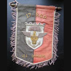 17° RGP : fanion des officiers du 17° Régiment du génie parachutiste 18 x 25 cm en cannetille