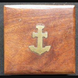 Boussole dans boitier bois avec ancre de marine en laiton 7 x 7 cm
