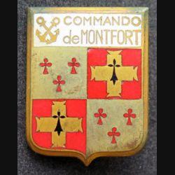 COMMANDO : insigne métallique du commando de Montfort type 3 de fabrication ABP en émail