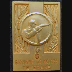 médaille en métal doré prix vétéran de carabine à 60 mètres  5,5 x 3,8 cm