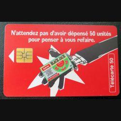 télécarte 50 unités France télécom Black Jack et que ça saute