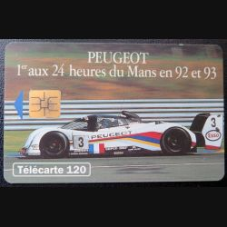 télécarte 120 unités France télécom Peugeot 1° aux 24 heures du Mans en 92 et 93
