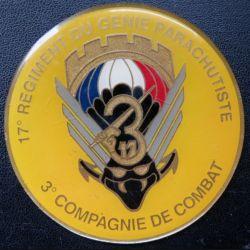 17° RGP : médaille plaque de 7,6 cm de la 3° compagnie de combat
