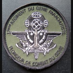 17° RGP : insigne tissu 8 cm des plongeurs de combat du 17° RGP sur scratch