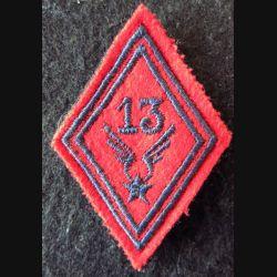 LOSANGE DE BRAS MODÈLE 45 : 13° GHL ALAT  (Artillerie) modèle Troupe fil de laine bleue