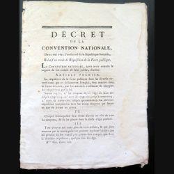 Décret de la Convention nationale N° 819 du 30 mai 1793 relatif au mode de réquisition de la Force publique