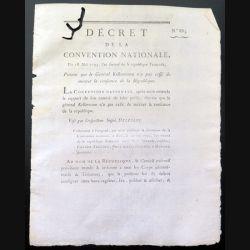 Décret de la Convention nationale N° 883 du 18 mai 1793 portant que le Général Kellermann ...