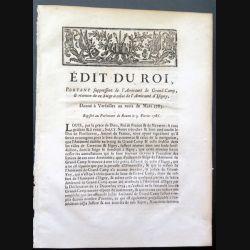 Edit du Roi portant supression de l'Armée de Grand Camp et réunion de siège ...Mars 1785