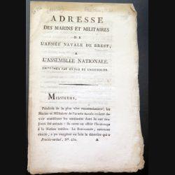 Adresse des marins et militaires de l'Armée navale de Brest à l'Assemblée nationale 1790