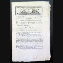 Bulletin des Lois de la république n° 23 Règlement sur l'organisation de la marine An VIII