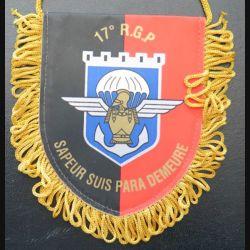 17° RGP : petit fanion de la CCL du 17° régiment du génie parachutiste  8 x 10 cm