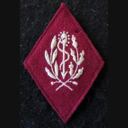 LOSANGE DE BRAS MODÈLE 45 :  personnel non officier (à partir de 1960) du Service de santé militaire fil doré