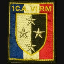 1° CA-VI° RM : 1° CORPS D'ARMÉE VI° RÉGION MILITAIRE sur tissu noir