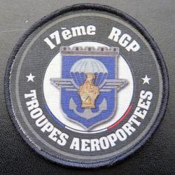 17° RGP : insigne tissu du 17° RGP trroupes aéroportées diamètre 9 cm