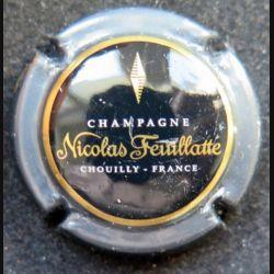 Capsule Muselet de bouteille de champagne Nicolas Feuillatte gris et noir