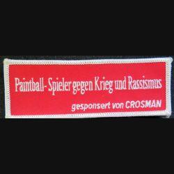 patch tissu Paintball Spieler gegen krieg und rassismus gesponsert von Crosman 4 x 12 cm