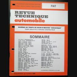 Revue technique automobile FIAT barême de temps de main d'oeuvre
