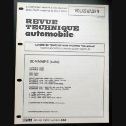 Revue technique automobile VOLKSWAGEN barême de temps de main d'oeuvre