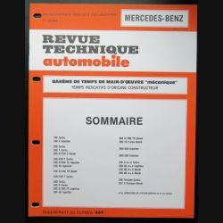 Revue technique automobile MERCERDES-BENZ barême de temps de main d'oeuvre