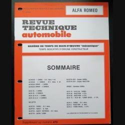 Revue technique automobile ALFA ROMEO barême de temps de main d'oeuvre