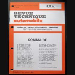 Revue technique automobile B.M.W barême de temps de main d'oeuvre