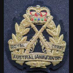 Cap badge en cannetille de l'Australian Infantry Royal Corps hauteur 9,5 cm