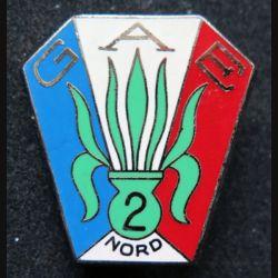 GAE N°2 : Insigne métallique du groupe d'auxiliaires étrangers N° 2 de fabrication Drago R 83 retirage