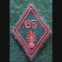 LOSANGE DE BRAS MODÈLE 45 : modèle troupe 65° régiment d'infanterie grenade allongée