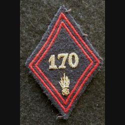 LOSANGE DE BRAS MODÈLE 45 : modèle officiers 170° régiment d'infanterie en cannetille