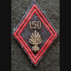 LOSANGE DE BRAS MODÈLE 45 : modèle officiers 150° régiment d'infanterie en cannetille