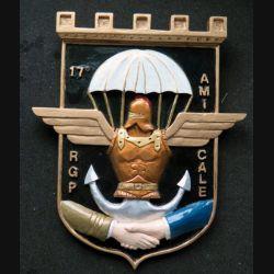 17° RGP : moulage en plâtre peint de l'amicale du 17° régiment du génie parachutiste 11 x 17 cm