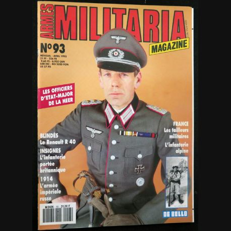 ARMES MILITARIA Magazine n° 93 de avril 1993 sur le Renault R 40