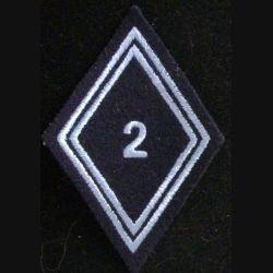 LOSANGE DE BRAS MODÈLE 45 : 2° régiment de hussards troupe 2 bleu clair sur velcro
