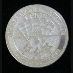 EPIGN : insigne métallique de brevet instructeur de l'escadron parachutiste d'intervention de la Gendarmerie nationale EPIGN de fabrication Boussemart 2004 tirage tout métal prestige argent