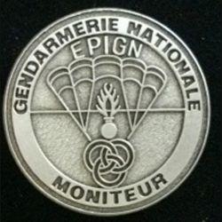 EPIGN : Insigne métallique de brevet moniteur de l'escadron parachutiste d'intervention de la Gendarmerie nationale EPIGN de fabrication Boussemart tirage 2003 modèle tout métal vieil argent