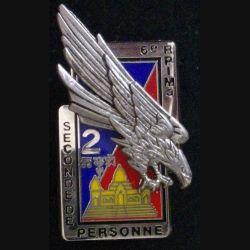 6° RPIMA : insigne métallique de la 2° compagnie du 6° Régiment parachutiste d'infanterie de  marine au Cambodge de fabrication Boussemart