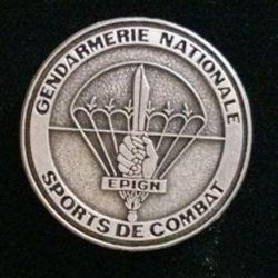 EPIGN :  Brevet de sports de combat de l'EPIGN Boussemart 2002 tout métal vieil argent