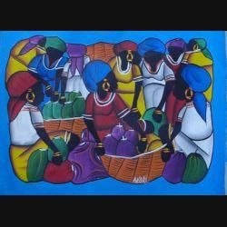 3. ART NAÏF HAÏTIEN : SCÈNE DE MARCHÉ (HUILE SUR TOILE 40x30 cm