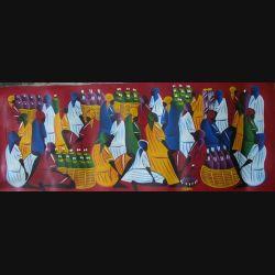 18. ART NAÏF HAÏTIEN : SCÈNE DE MARCHÉ -HUILE SUR TOILE 30x75 cm (C151)