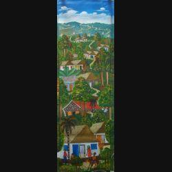 36. ART NAÏF HAÏTIEN : VILLAGE -HUILE SUR TOILE 30 x 100 cm (C151)
