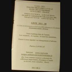 0. Liste 2011 - 08 d'insignes militaires illustrés en couleur réalisé par la SARL IML insignes militaires Lavocat (C139)