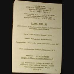 0. Liste 2010 - 10 d'insignes militaires illustrés en couleur réalisé par la SARL IML insignes militaires Lavocat (C139)